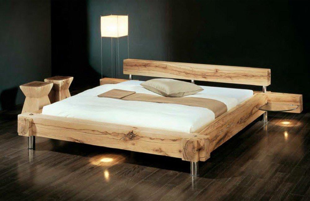 Massivholzbett Balken-Bett - rustikales Designerbett, Größe ...