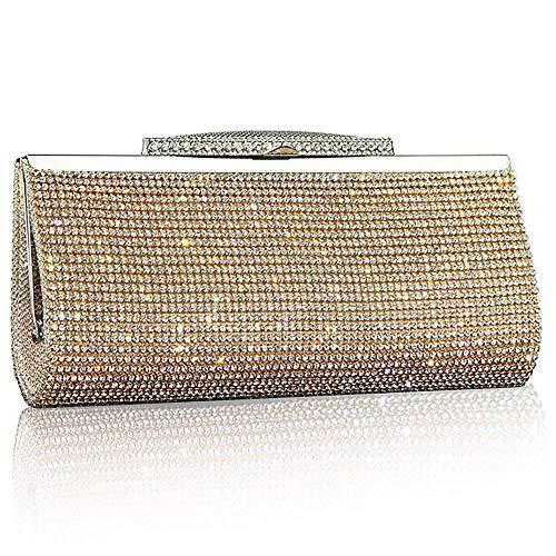 Bag Evening Prom Glitter Gold Handbag Silver Gold Party Crystal Diamante Fashion Purse Clutch Womens Sparkly Bridal Black n4xt1S