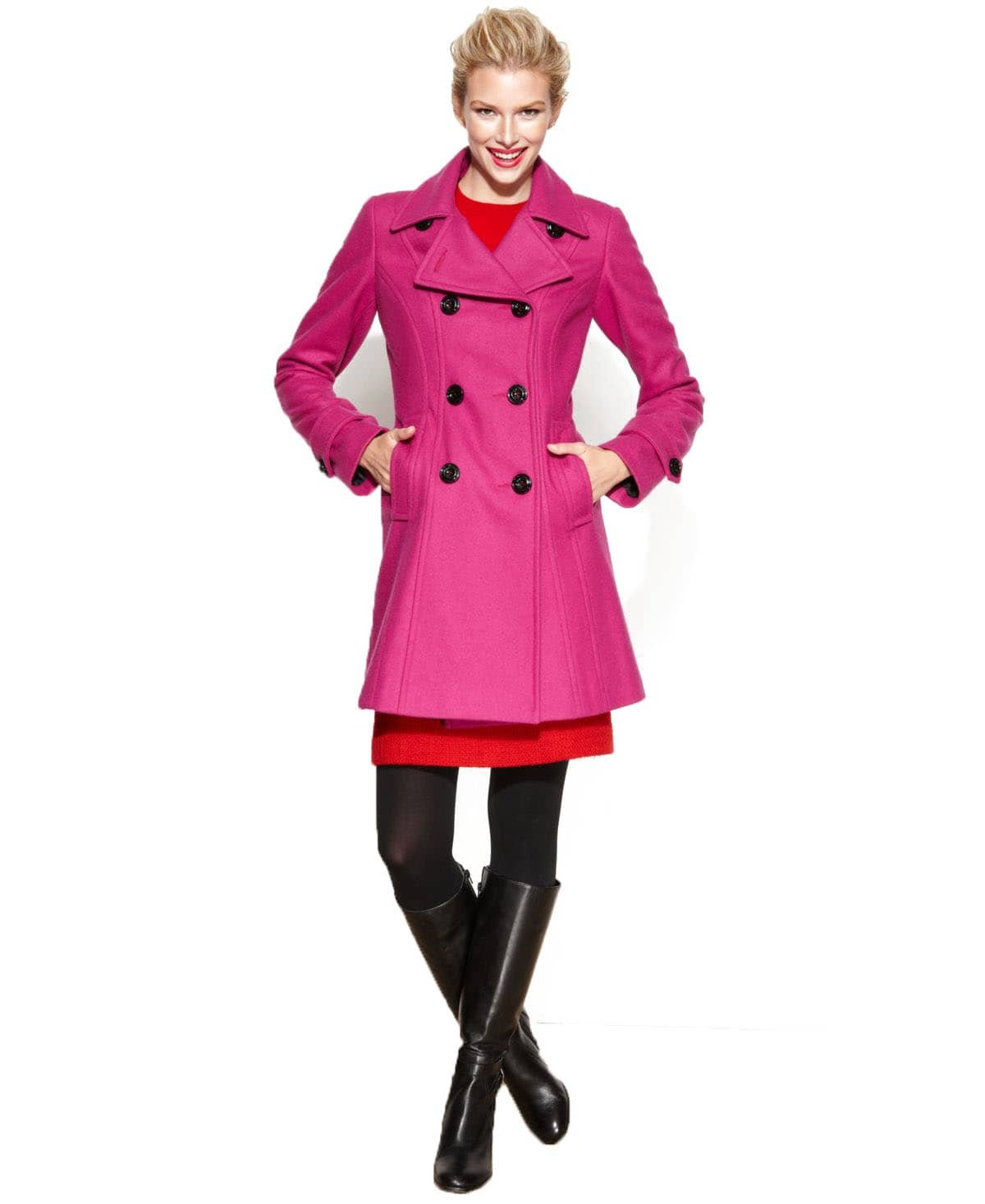 Anne Klein Womens Double-Breasted Wool-Blend Coat Cerise S