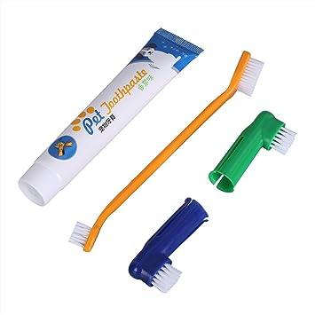 Patgoal – Cepillo de dientes doble para perro. Cepillo de dientes perros y pasta