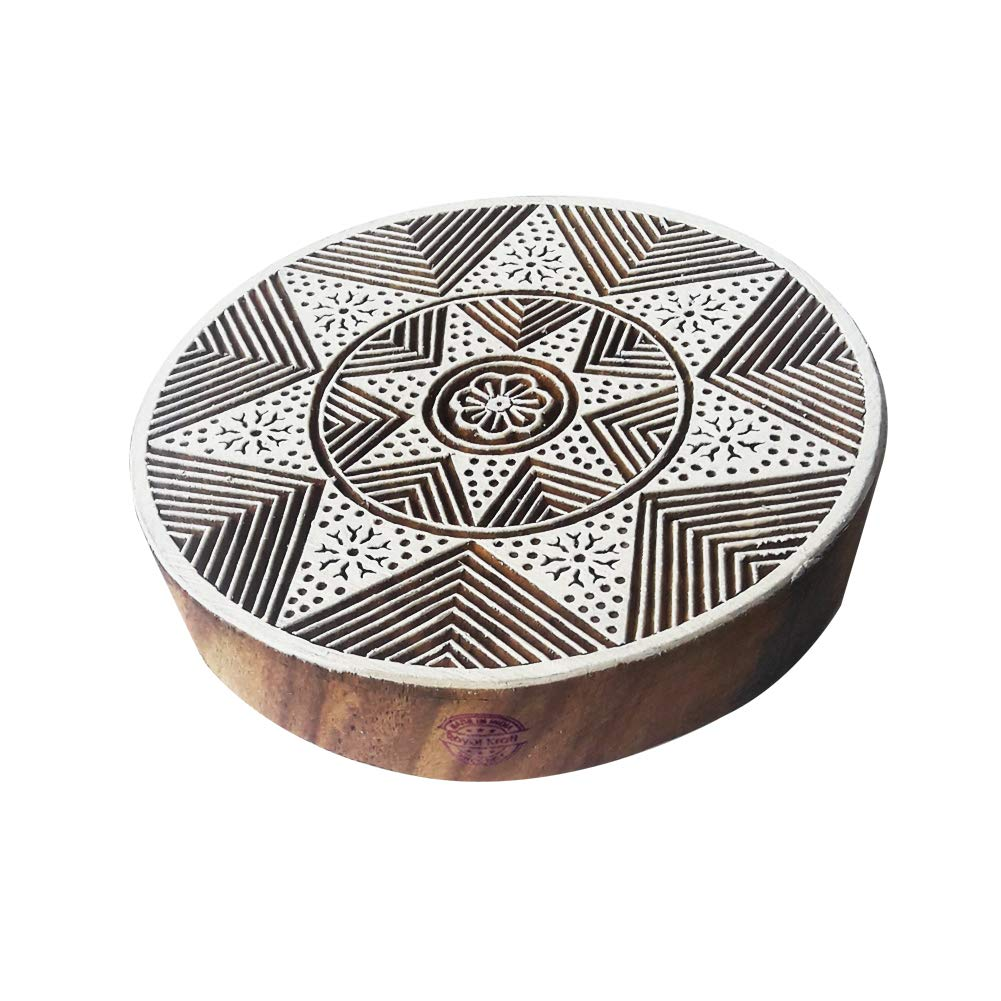 8 Inch Arty Crafty Large Print Stamp Star Round Shape Big Wooden Block