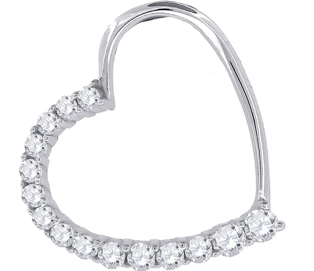 Saris and Things 925 Sterling Silver Womens Round Cubic Zirconia CZ Heart Fashion Pendant