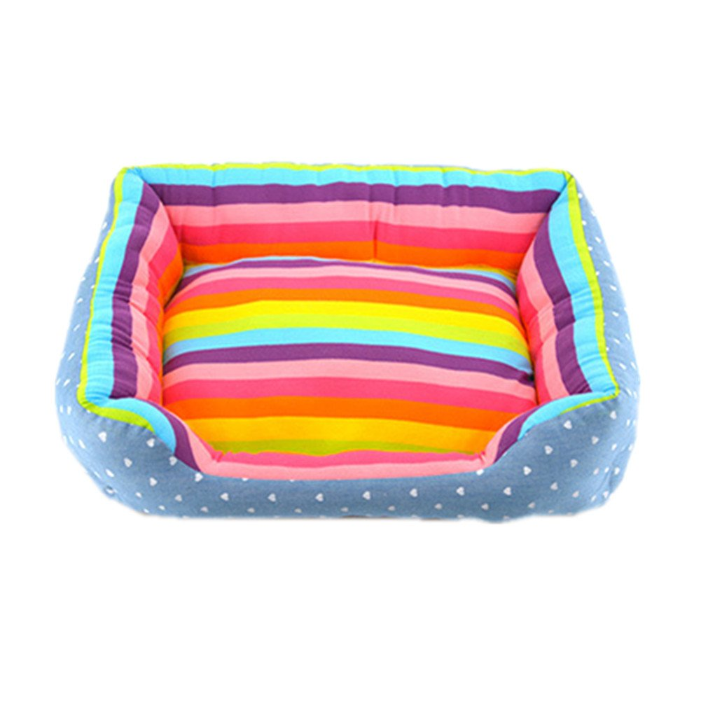 Hexagonal M Pet dog Puppy Soft Cool Hexagonal Rainbow Fabric Striped Bed House Durable Dog Indoor Kennel