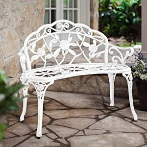 HOMEFUN Outdoor Bench Cast-Aluminum, Front Porch Benches Garden Metal Loveseat Patio Furniture, Rose Carving and Weather Resistant -White