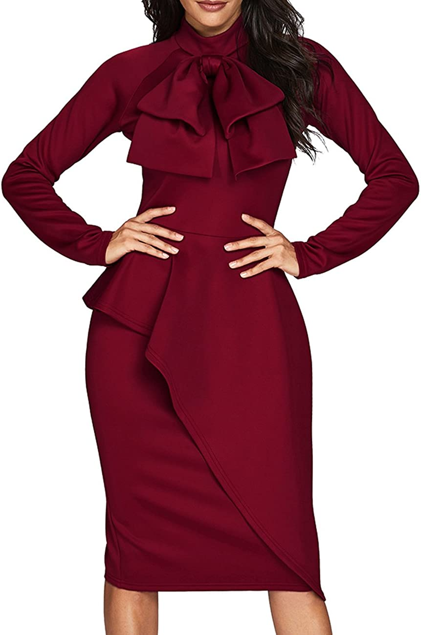 80s Dresses | Casual to Party Dresses CILKOO Womens Tie Neck Peplum Waist Long Sleeve Bodycon Business Dress(5Color S-XXL) $36.99 AT vintagedancer.com