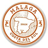 2 x Malaga Spain Vinyl Stickers Decals Car Laptop Bag Labels Luggage Tag Christmas Gift Tag Stickers Novelty (10cm x 10cm)