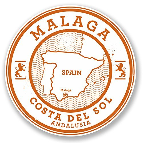 2 x Malaga Spain Vinyl Stickers Decals Car Laptop Bag Labels Luggage Tag Christmas Gift Tag Stickers Novelty (10cm x 10cm) by hiusan