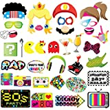 80s Party Photo Booth Props-80's Retro 1980s Birthday Party Supplies Decorations