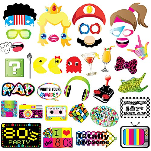 80s Party Photo Booth Props-80's Retro 1980s Birthday Party Supplies Decorations -