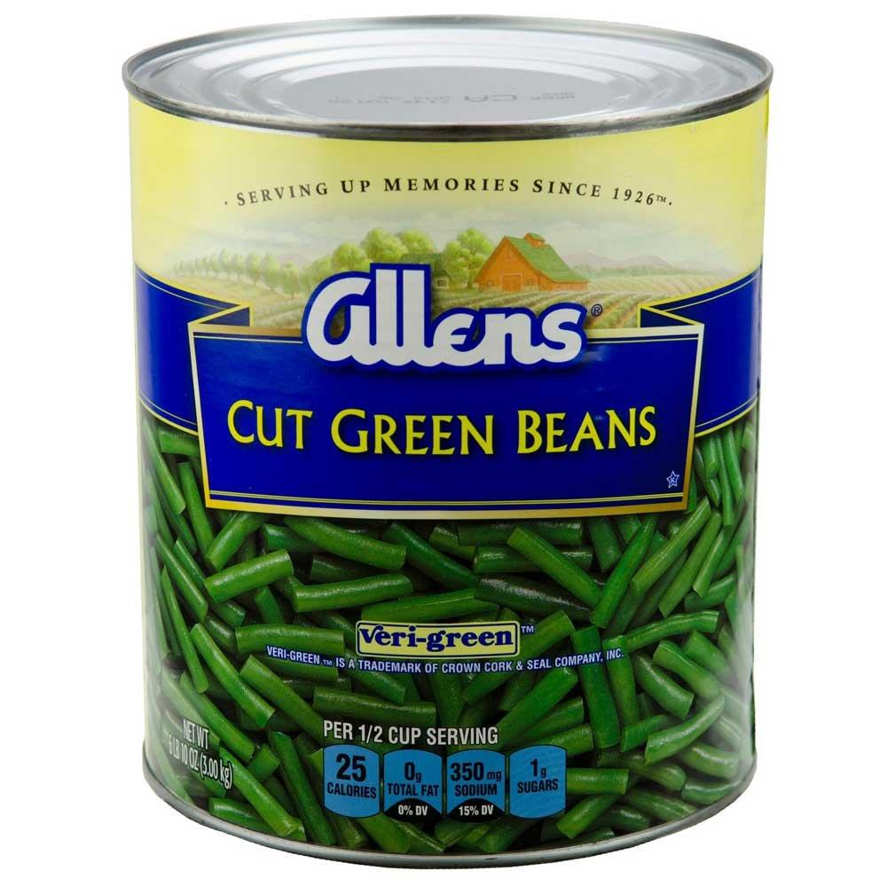 Allens Veri Green Canned Cut Green Bean, 106 Ounce - 6 per case.