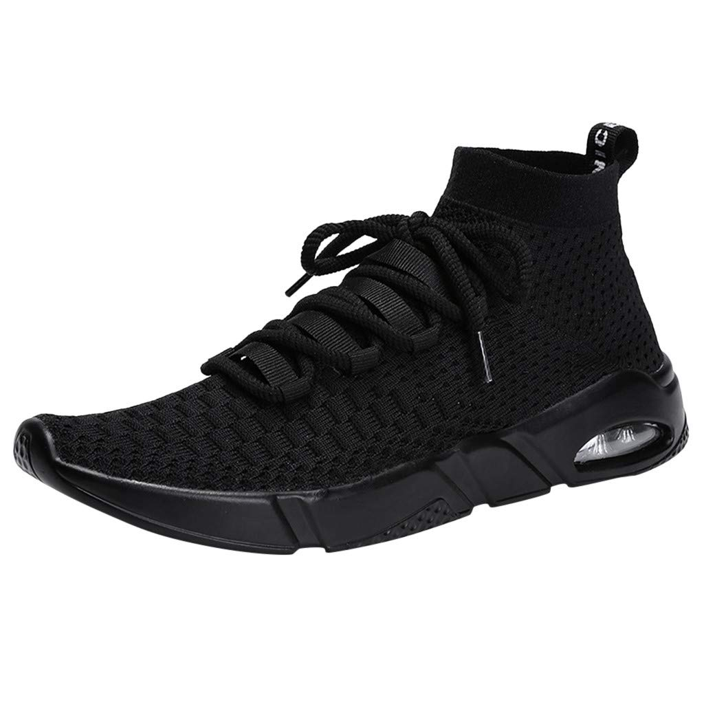 Men's Air Cushion Sneakers, Fashion Casual Knit Breathable Sport Shoes Athletic Lightweight Running Sock Shoes US 7-10.5 (Black, US:10.5) by Cealu