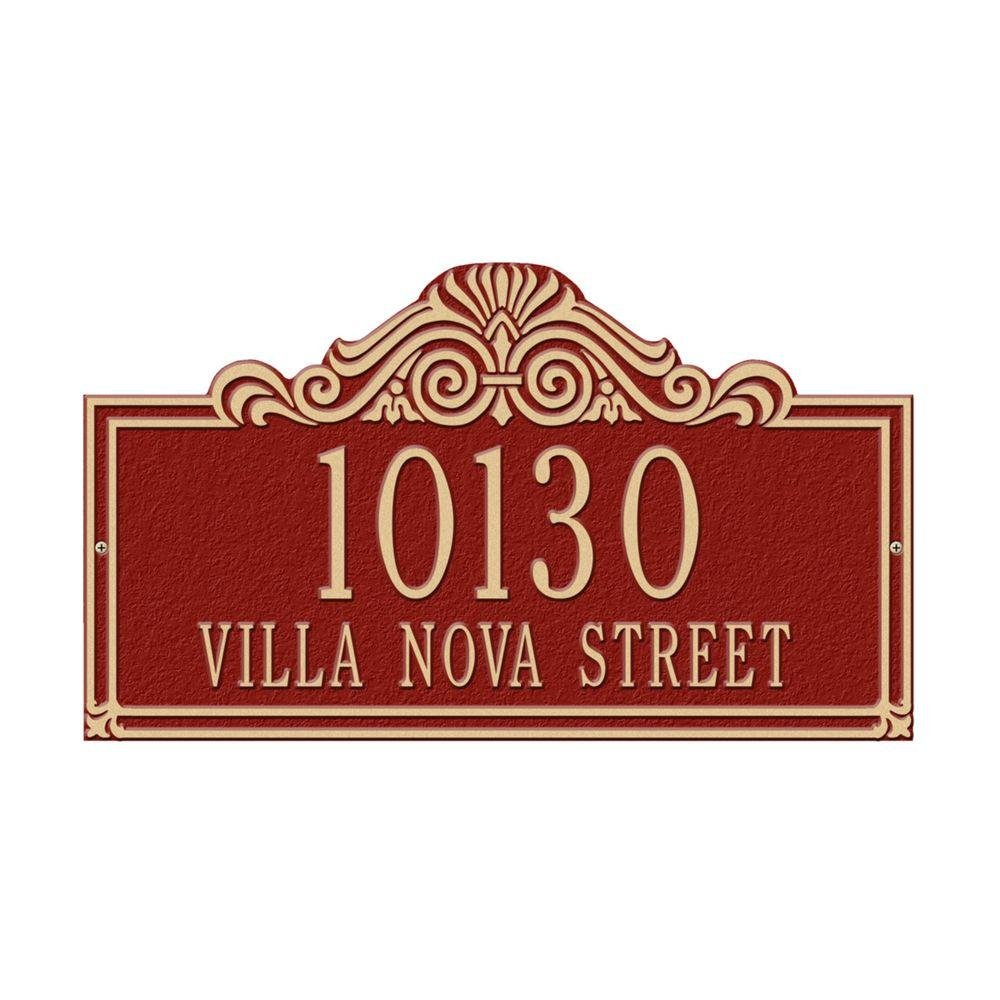 Whitehall製品Villa Nova標準壁2つのラインアドレスPlaqueレッド/ゴールド B00A2ZZ9XG