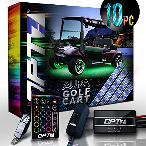 10pc Aura Golf Cart Underbody Glow LED Lighting Kit | Multi-Color Accent Neon Strips ()