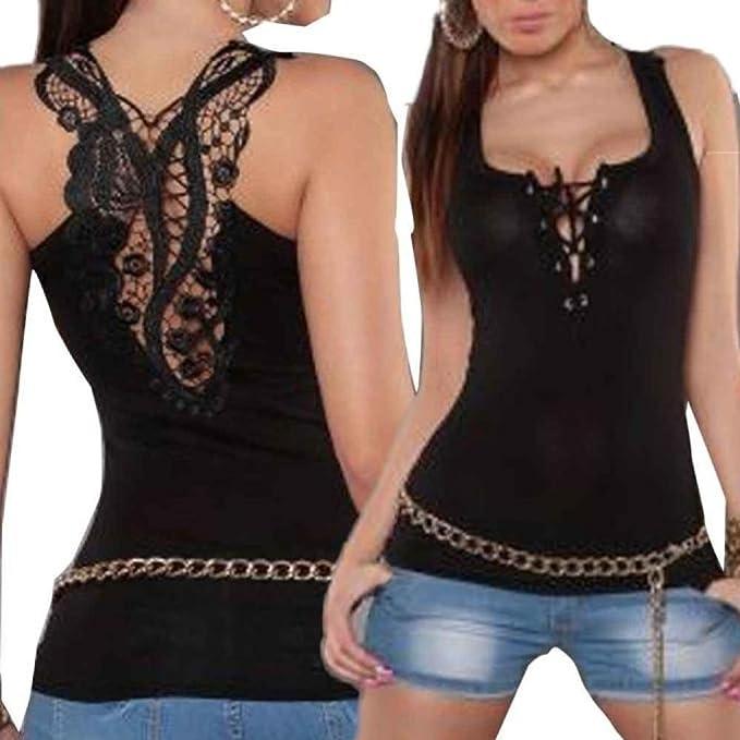 Amazon.com: Teresamoon Bandage T-Shirt, Women Lace Halter Top Sleeveless Camisole: Clothing