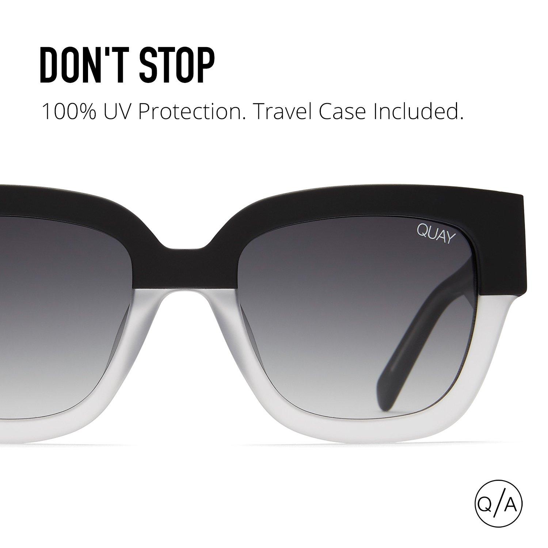 33090a1ce563f Amazon.com  Quay Australia DON T STOP Women s Sunglasses Square Sunnies  -Black White Silver  Clothing