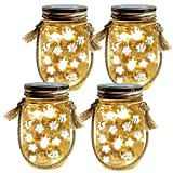 Homeleo 4-Pack Solar-Powered Mason Jar Lights Kits(Lid Lights/Mason Jars/Hangers Included),LED Star Fairy Firefly Vintage Jar Lights Set for Christmas Decoration Outdoor Garden Yard Patio Path Decor