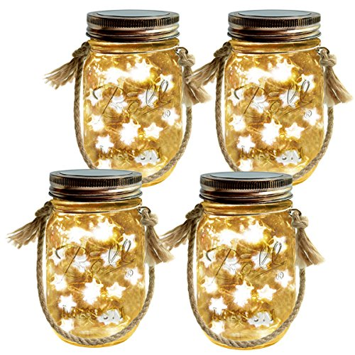 Homeleo 4-Pack Solar-Powered Mason Jar Lights Kits(Lid Lights,Mason Jars,Hangers Included),LED Star Fairy Firefly Vintage Jar Lights Set for Christmas Decoration Outdoor Garden Yard Patio Path Decor ()