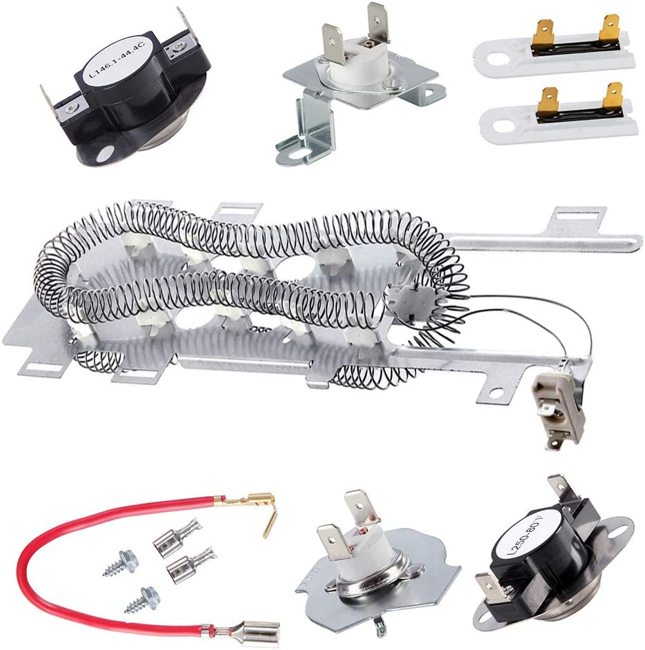 8544771 Dryer Heating Element, 279973 3392519 Thermal Fuse and 279816 Thermostat Cut Off Dryer Compatible with Maytag, Kenmore, Whirlpool, KitchenAid, Roper, Estate, Amana, Admiral, and More