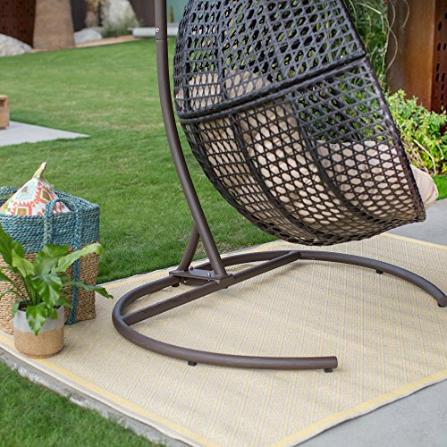 Resin Wicker Hanging Egg Loveseat Swing Chair Indoor