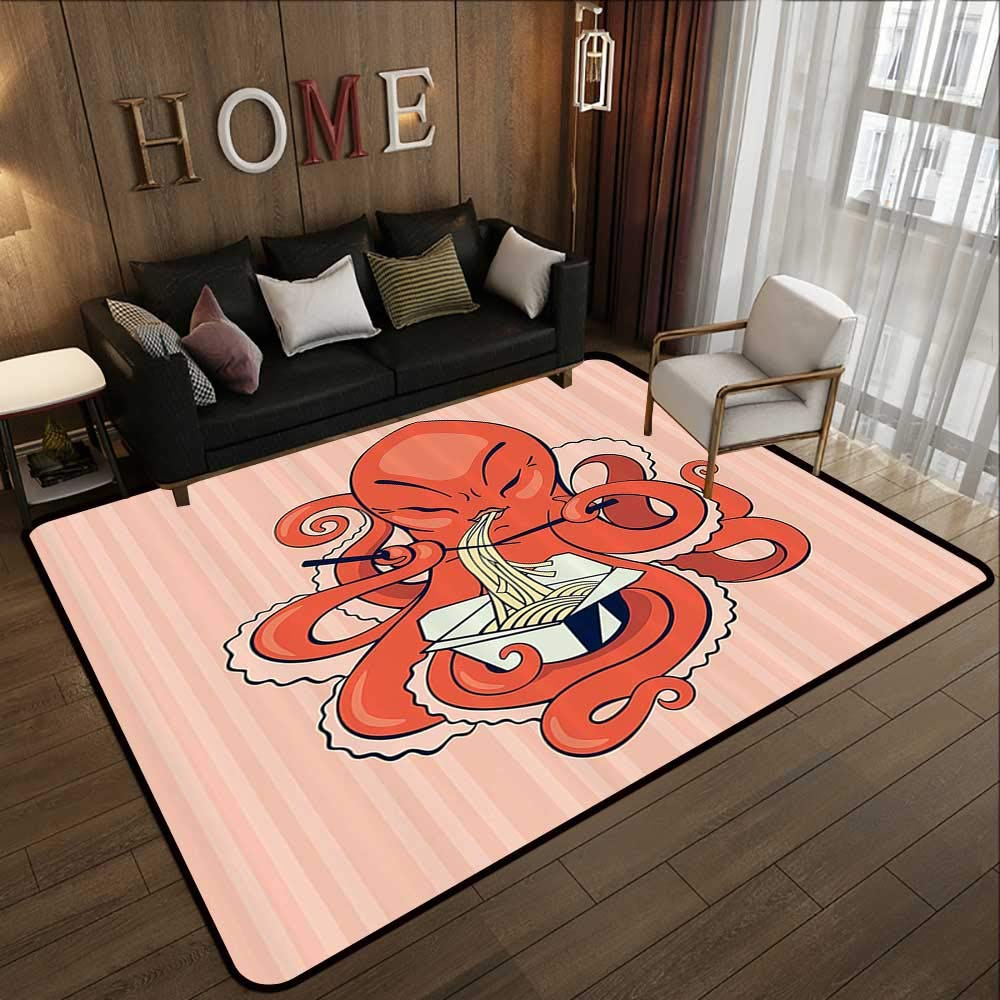 Kids Rugs,Octopus Decor Collection,A Cartoon Octopus Eating Asian Noodles with Chopsticks in Tentacles Retro Style Decor,Orange Pi 78.7''x 118'' Slip-Resistant Washable Entrance Doormat