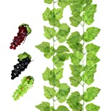 YEDREAM 2 PCS Artificial Grape Vines with 3 Strings Grapes, Each 7.7 Feet Fake Foliage Hanging Plant with 66 Pieces Leaves for Wedding Home Indoor Outdoors Party Garden Wall Decoration(Large Leaves)