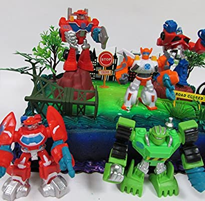 Transformers 16 Piece Birthday Cake Topper Set Featuring Optimus Prime and Friends with Decorative Themed Accessories Cake Toppers