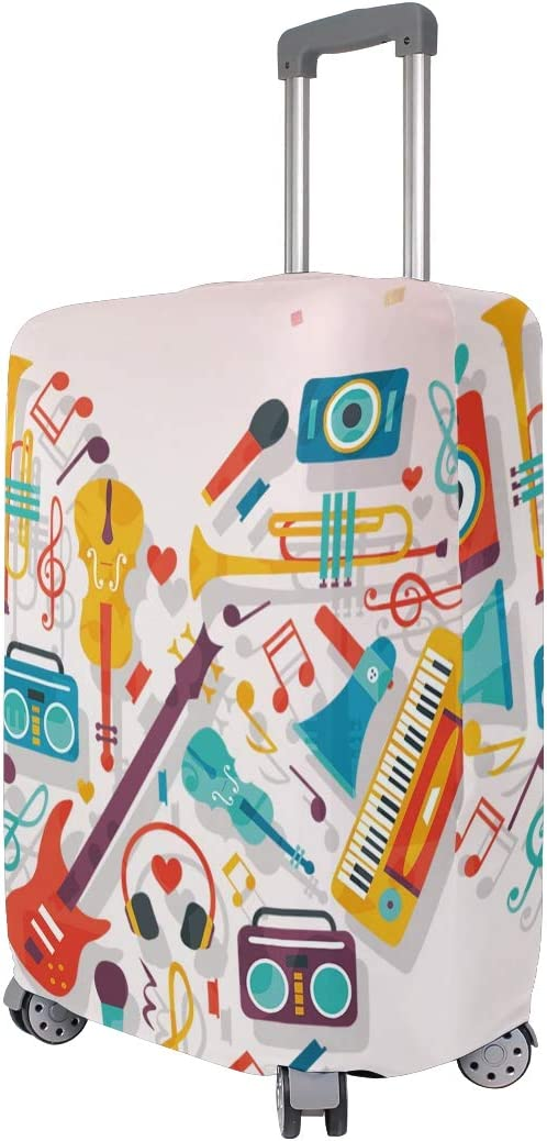 FOLPPLY Heartd Musical Notes Design Luggage Cover Baggage Suitcase Travel Protector Fit for 18-32 Inch