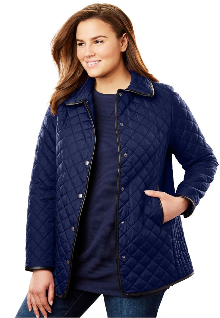 Women's Plus Size Light Quilted Snap-Front Jacket