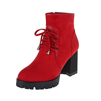 Women's High-Heels Round Closed Toe Imitated Suede Low-Top Solid Zipper Boots Red-Frosted 36