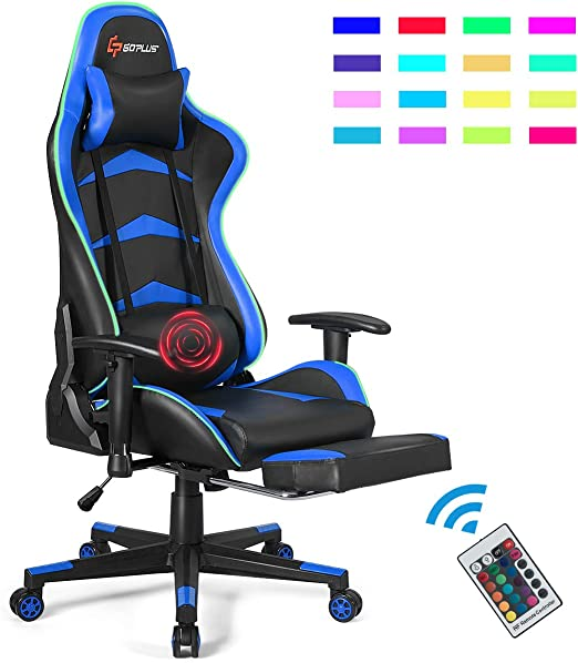 Office Chair Gaming Chair With Massage Function Adjust Seat Height Foot Rest