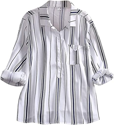 alikeey Camisa Blanca Mujer Abrigo Mujer Invierno Gran tamaño T-Shirts Mujer Blusa Mujer Camisa de Manga Larga de Rayas, Mujer, Azul, L: Amazon.es: Deportes y aire libre