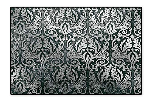 Collection Area Rug Metal Plate Graphic with Classic Floral Ornaments Medieval Empire Royal Engraved Print Ideal Anti Slip 5'x7' ()