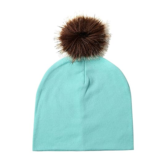 Infgreate Stylish Warm Hat Infant Baby Kids Lovely Faux Fur Ball Cotton  Knitted Soft Warm Hat Beanie Cap at Amazon Women s Clothing store  586f90d743