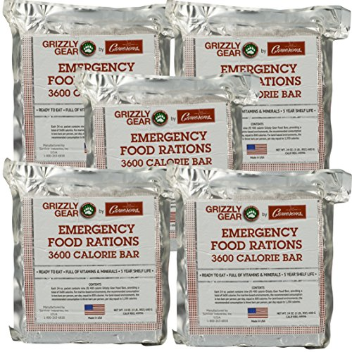 Emergency Food Rations 5 Pack – 3600 Calorie Bar – 15 Day Supply – Less Sugar and More Nutrients Than Other Leading Brands – (5 Year Shelf Life)