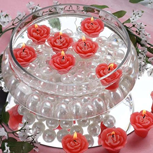 (Efavormart Set of 60 Red Mini Floating Rose Candle Ideal for Aromatherapy Weddings Party Favors Home Decoration Supplies)