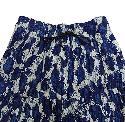 Indio De Moda De Algodón De Falda Larga Nuevo Impreso Mujeres De Desgaste Informal Con Estilo Falda Azul y blanco apagado