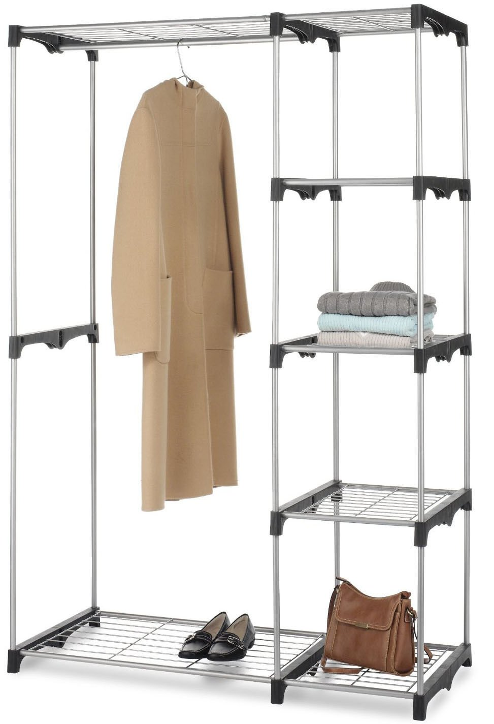 Amazon.com: Closet Organizer Storage Rack Portable Clothes Hanger Home  Garment Shelf Rod G68: Home U0026 Kitchen