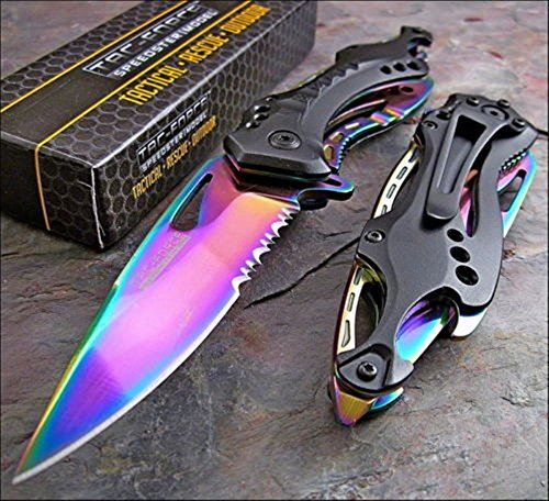 (Tac Force Spring Assisted Rainbow Blade Tactical Rescue Pocket Hunting Knife)