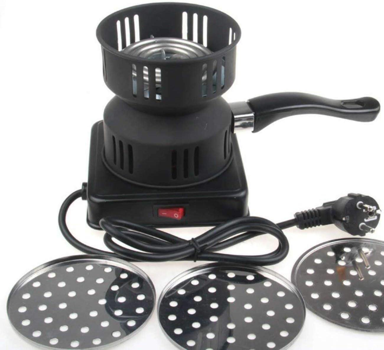 Quemador de carbón eléctrico Bandeja extraíble + Pinzas Estufa de carbón de leña espesada