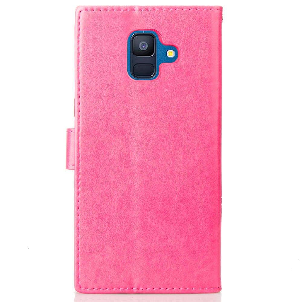 de piel sint/ética PU dise/ño de tr/ébol de cuatro hojas en relieve Rose Red Funda para Samsung Galaxy A6 2018 con ranura para tarjeta de soporte con tapa y tarjetero a prueba de golpes