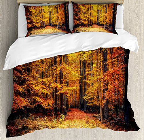 Ambesonne Forest Duvet Cover Set King Size, Magical Fall Photo in National Park with Vivid Leaf Plant Eco Earth Trees Mystical Theme, A Decorative 3 Piece Bedding Set with 2 Pillow Shams, Orange Brown