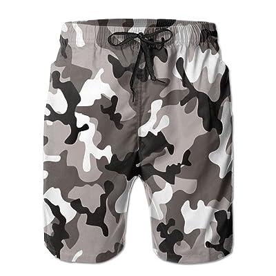 xj Men's White Black Art Camouflage Fashion Beach Pant Tide Stamp Shorts