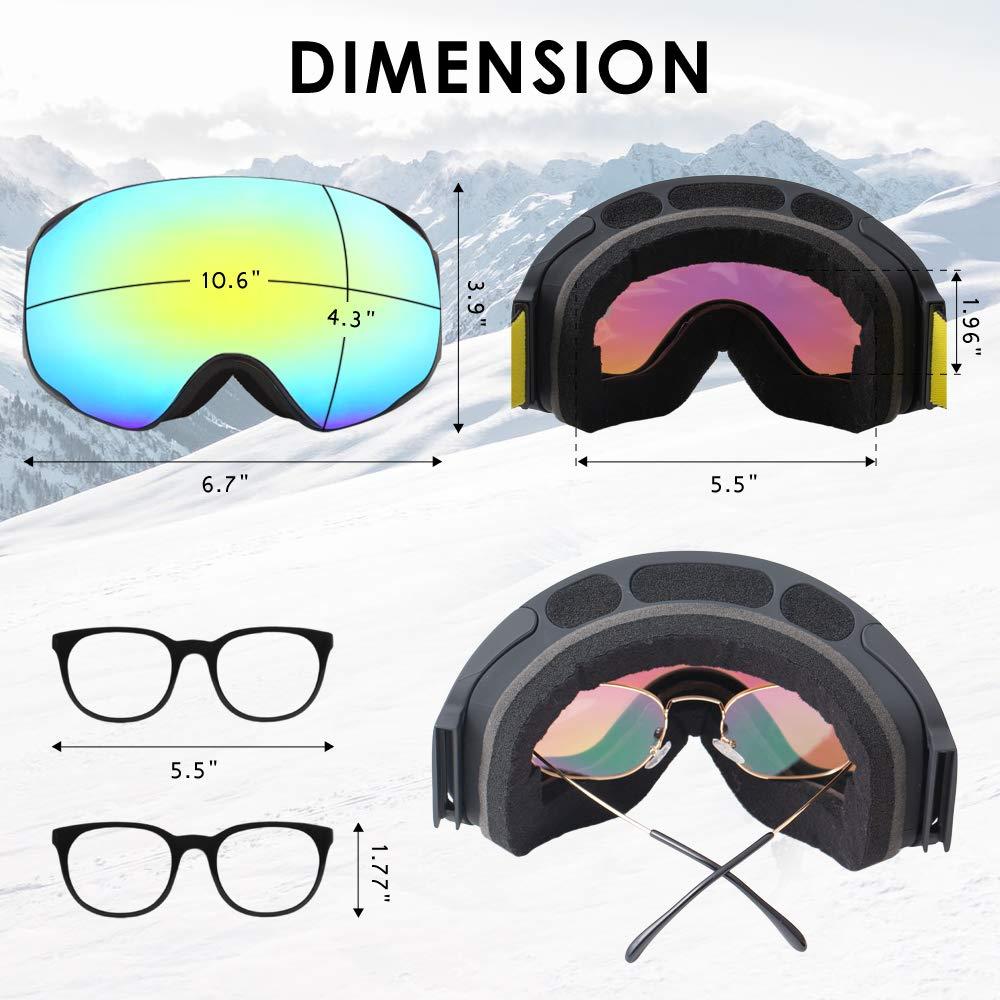 UTOBEST Maschere da Sci OTG Frameless Maschere da Snowboard con Doppia Lente antiappannamento per Uomo e Donna