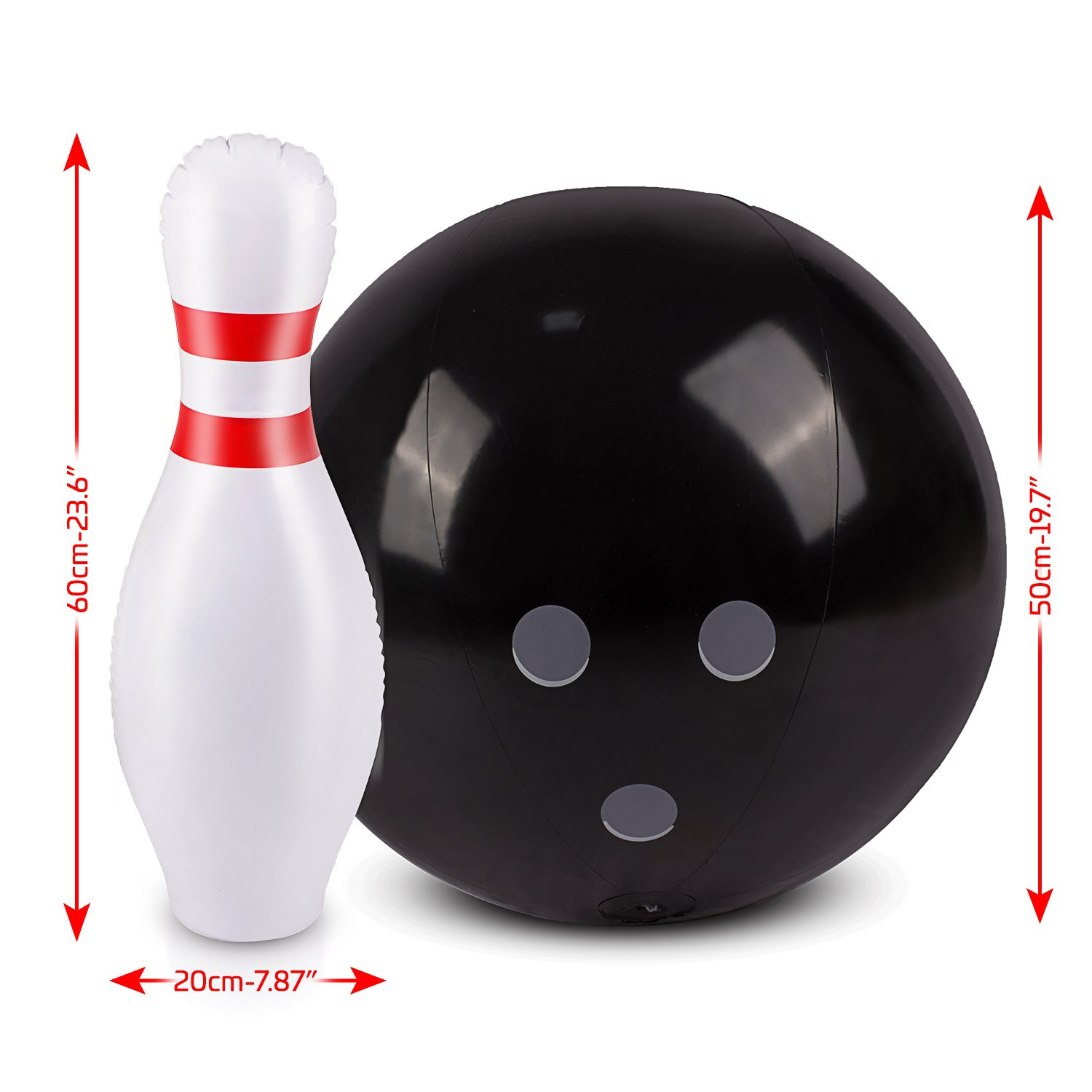 Inflatable Bowling Ball Set – Ideal Fun Game for Kids & Adults, Family Parties & Picnics – Outdoor or Indoor - Stable & Durable – Perfect Size – Includes 1 Ball & 6 Pins by ABCO TECH (Image #4)