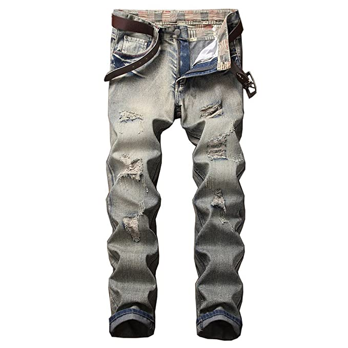 Vintage Look Distressed Jeans, 2018 Tapered Leg Destroyed ...