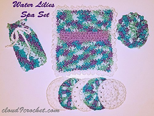 Invigorating yet gentle face and body poufs. Hand crocheted Water Lilies colored spa or bath set. by Cloud 9 Crochet