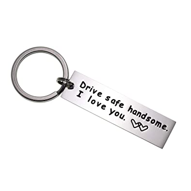 LParkin Drive Safe Keychain Handsome I Love You Trucker Husband Gift for Husband dad Gift Valentines Day Stocking Stuffer