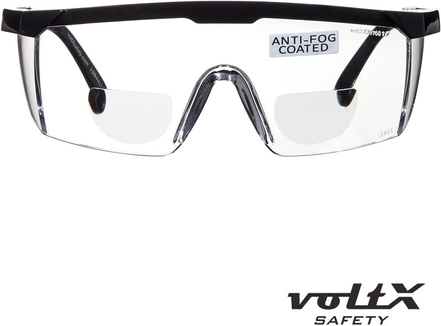 Clear, 1.5 Dioptre with Case CE EN166f Certified UV400 Anti Fog Coated Lens Includes Safety Cord with headstop voltX Classic Bifocal Safety Glasses