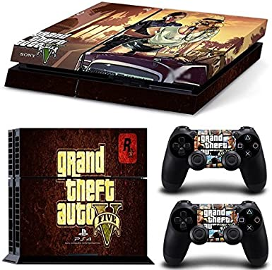 Grand Theft Auto V GTA 5 PS4 Playstation 4 Console + 2 Controllers Skin Sticker Vinyl Decal Set by Skins R Us: Amazon.es: Videojuegos