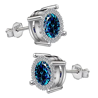 Meyiert Jewellery 925 Sterling Silver Cubic Zirconia Sparkling Stud Earrings for Women QzTkx
